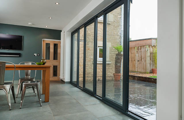 patio doors with black frame